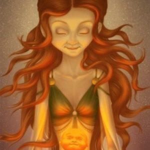 Illustration d'une femme en tailleur avec un enfant sur ses genoux